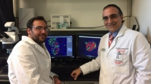 Photo of Dr. Bernal-Mizrachi and Dr. Blandino Rosano in the lab